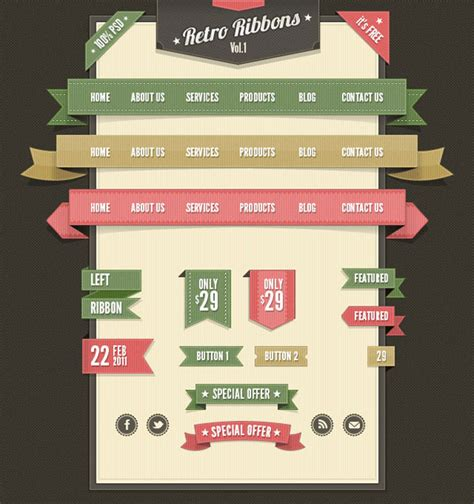 website ribbon tutorial retro web ribbons vintage psd pack photoshop tutorials
