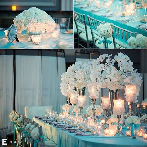 blue themed wedding white orchid centerpiece white hydrangea centerpiece wedding