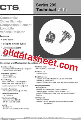 variable resistor 10k datasheet pdf 295s224f253b12 datasheet pdf cts corporation
