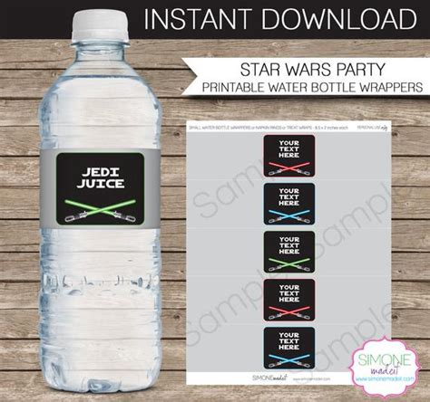 Star Wars Party Water Bottle Labels Or Wrappers Instant Download Editable Template Type Water Bottle Wrapper Template