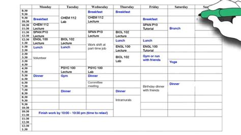 Create A by Create Your Weekly Schedule