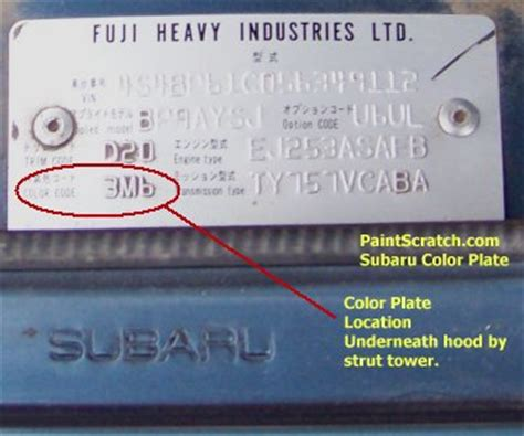 Subaru Paint Codes Subaru Touch Up Paint Color Code And Directions For