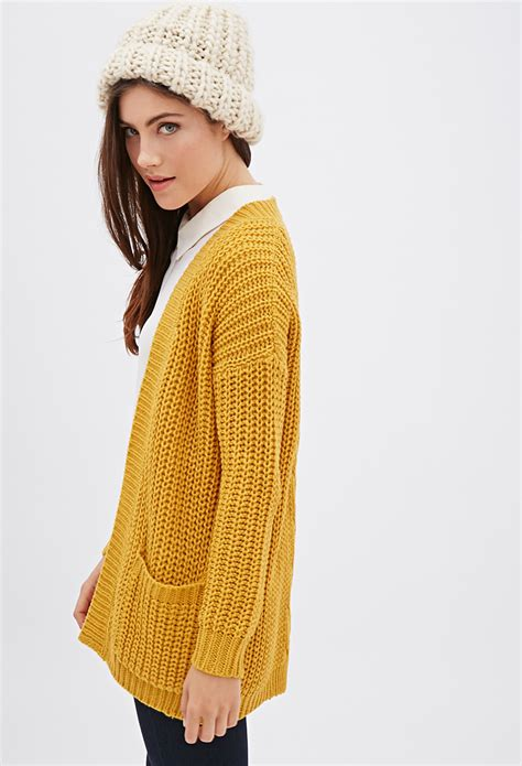 knit cardigan forever 21 forever 21 purl knit cardigan in yellow lyst