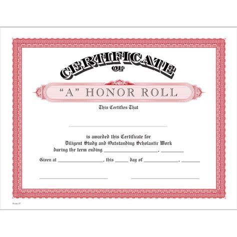 a honor roll red certificate jones school supply