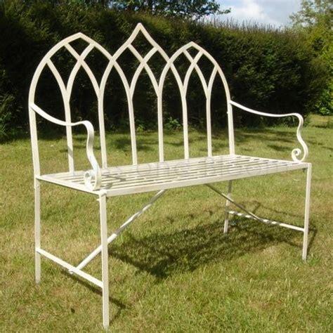 cream gothic garden bench bliss and bloom ltd
