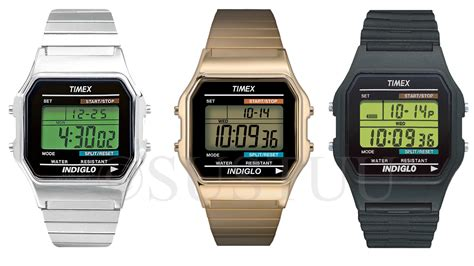 timex 80 vintage retro indiglo water resistant lcd