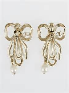 Bow Pearl Drop Earring chanel goldtone metal bow pearl drop clip on