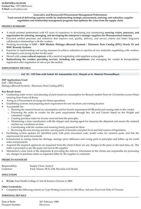 Sourcinge Analyst Cover Letter by Procurement Analyst Resume Sle Resume Ideas