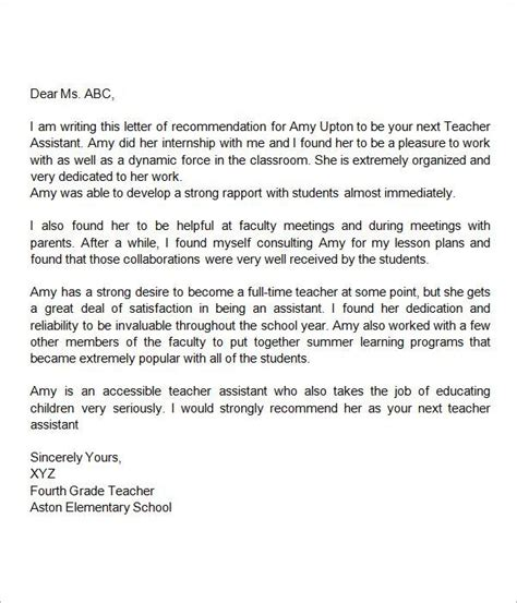 Cover Letter For Classroom Assistant by Recommendation Letter For Assistant