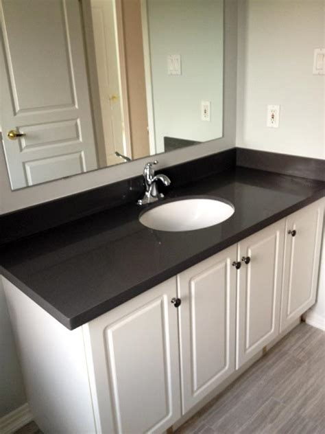 black bathroom countertop guest bathroom reno before after creative design
