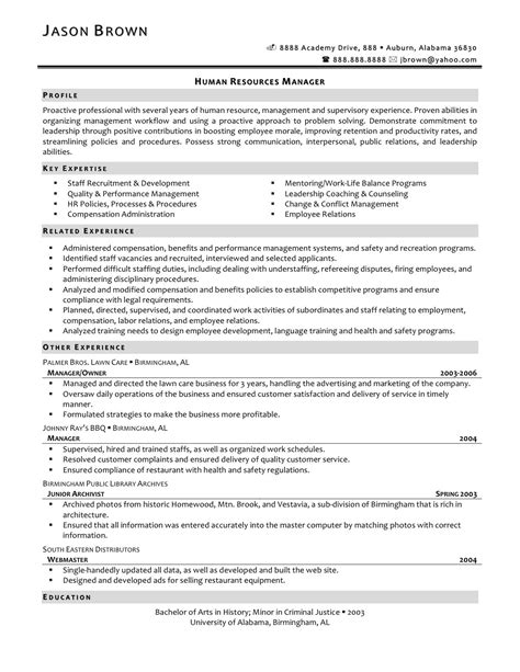 sle hr executive resume sle objectives in resume for hrm 28 images care