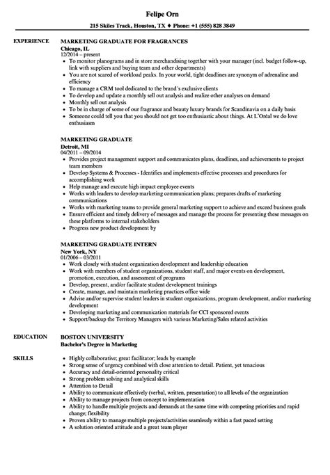 Graduate Resume by Marketing Graduate Resume Sles Velvet