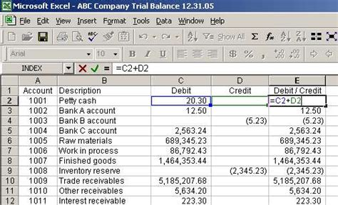 Debit Credit Formula Excel Sheet Debit And Credit