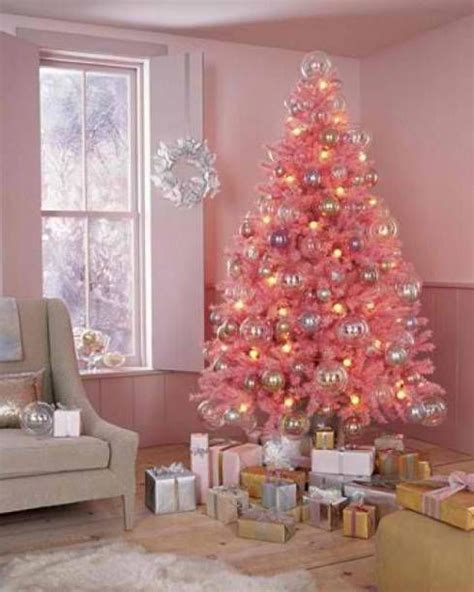 pink christmas trees decorated holidays pinterest