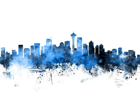 seattle washington skyline digital art by michael tompsett