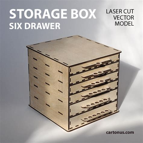 Laser Cut Wood Box Template by Storage Box With Drawers Cartonus