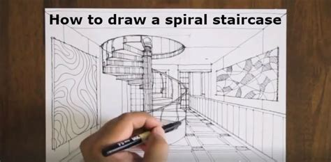 How To Make A Helix Out Of Paper - drawing spiral staircase like the professionals do