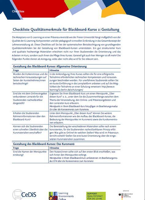 Fu Berlin Bewerbung Checkliste Blackboard Seite 6 Fortbildungen Zu Lehren Und
