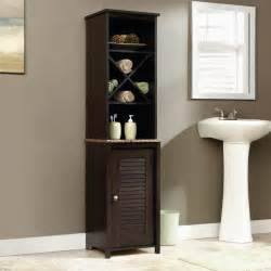 bathroom linen cabinet tower sauder bath peppercorn collection linen tower linen