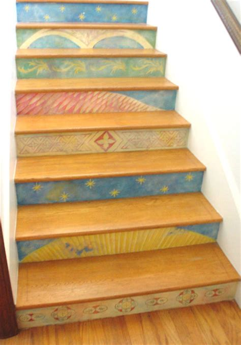 Cool House Clocks Hand Painted Stair Risers Eclectic Staircase Los
