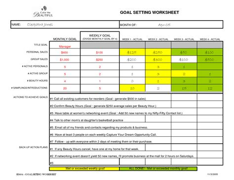 personal goal setting template best photos of weekly goal sheet template smart goal