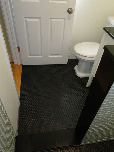 black floor bathroom ideas bathroom floor black hexagon tile installed bathroom