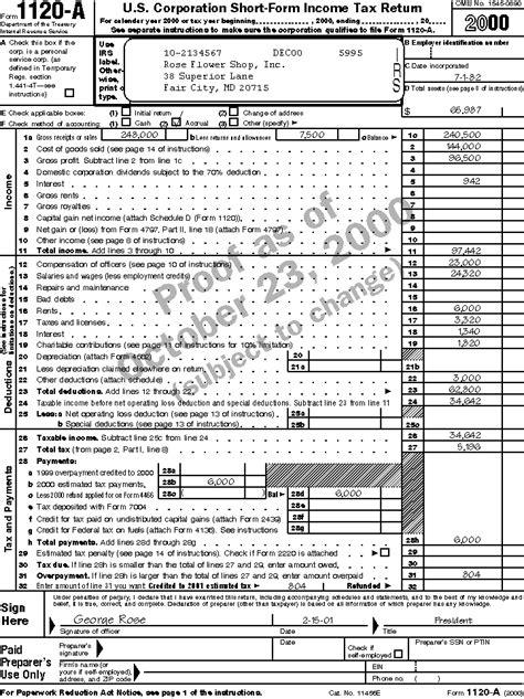 business tax return form 1120 publication 542 corporations sle returns
