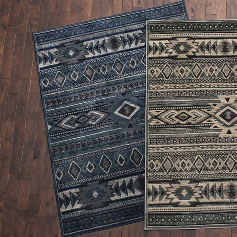South Western Rugs by Desert Morning Thunder Blue Southwestern Rug 5 X 7