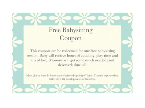 free printable coupon template search results for free printable babysitting coupons