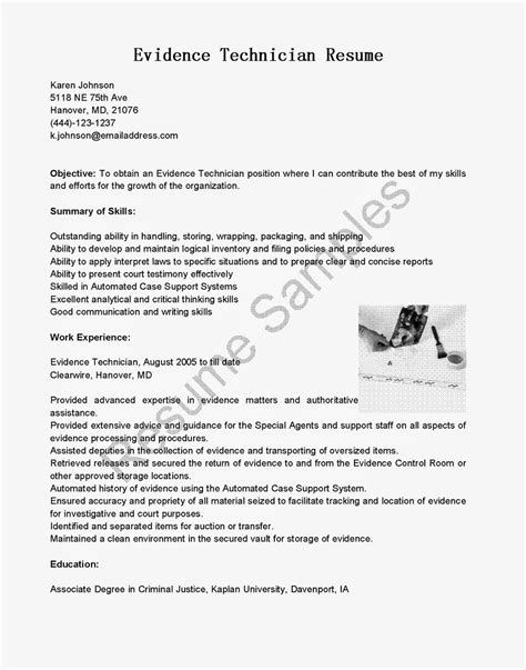 Evidence Technician Sle Resume by Resume Sles Evidence Technician Resume Sle