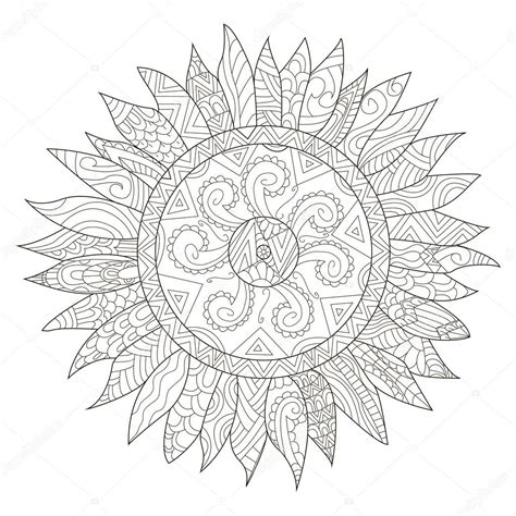 sunflower mandala coloring pages mandala flower sunflower coloring vector for adults