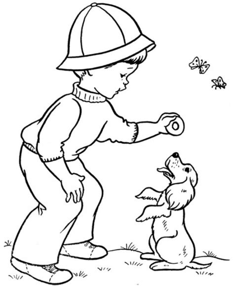 puppy playing coloring page coloring pages of a boy playing with puppy for kids