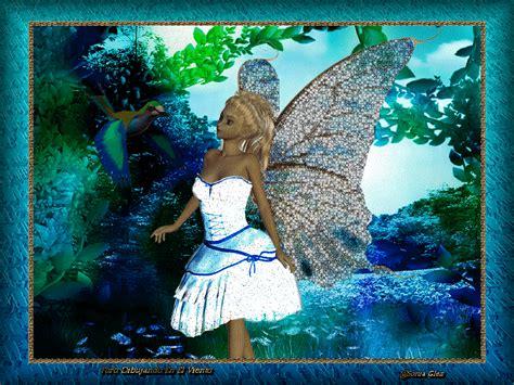 imagenes de paisajes con movimiento y brillo bella hada con bonitas alas animadas paisaje bosque azul y