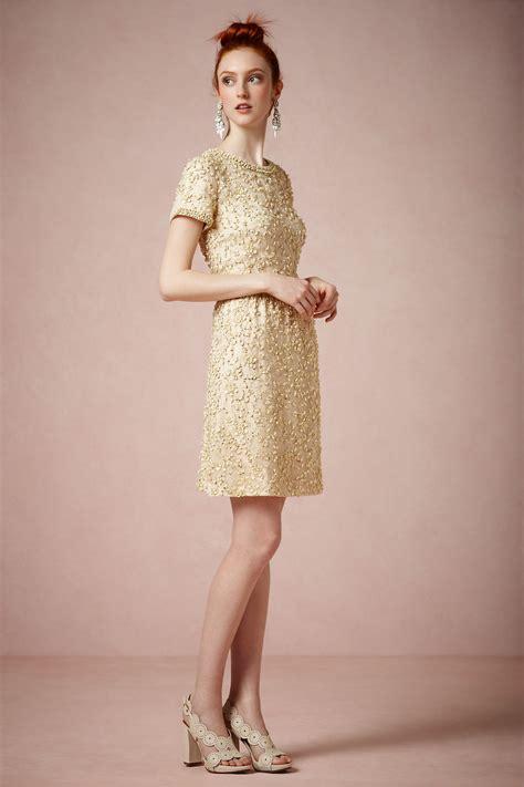 Bhldn Vintage Inspired Wedding Dresses Gowns   gold vintage inspired short wedding guest dress by bhldn