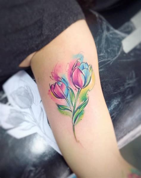 watercolor tulip tattoo on instagram watercolor tulip inkstylemag inkstylemag