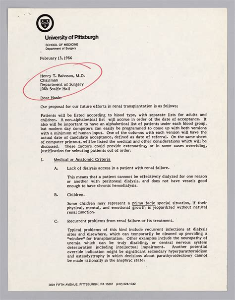 Kidney Donation Letter The Official Dr E Starzl Web Site Dr Henry T Bahnson