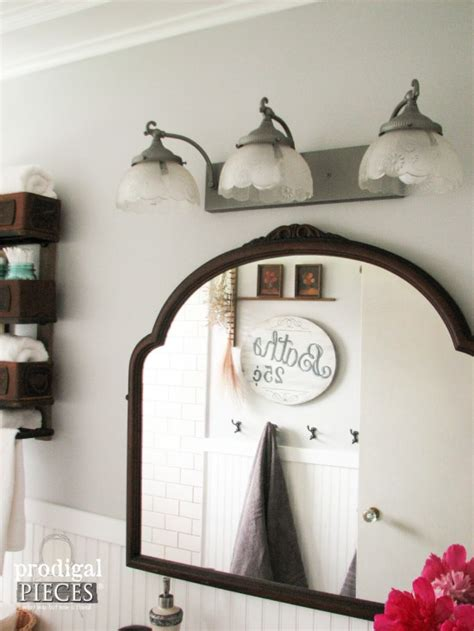 Farmhouse Bathroom Remodel Reveal Prodigal Pieces Antique Lighting Fixtures For Home