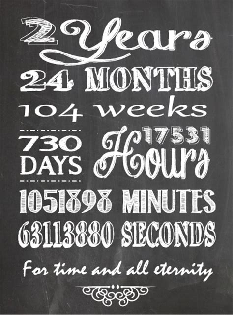 Wedding Anniversary Year 2 by One Willis Family 2 Year Anniversary Chalkboard Printable