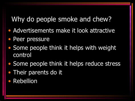 why do people smoking and tobacco use