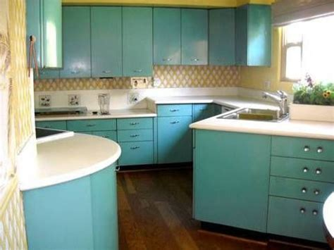 1950 s mid century aqua steel kitchen cabinets for sale