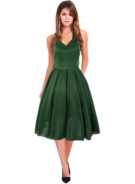 s a line sleeveless v neck pleated cocktail dress