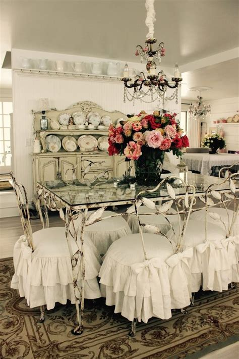 Dining Room Chair Slipcovers Shabby Chic 26 Ways To Create A Shabby Chic Dining Room Or Area Shelterness