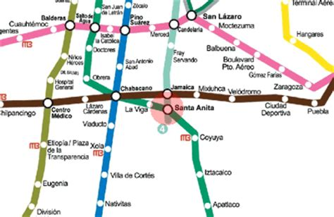 Santa Anita station map - Mexico City Metro