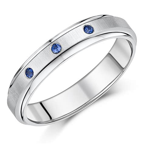 5mm Wedding Ring by 5mm Titanium Blue Sapphire Wedding Ring Band Titanium