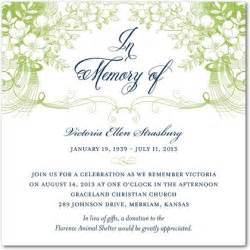 Memorial Service Invitation Letter Memories Memorial Invitations In Meadow Or Lavender Lace East Six