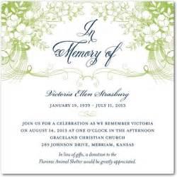 Misty memories memorial invitations east six meadow green