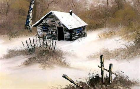 bob ross painting house обои картина снег природа зима деревья живопись