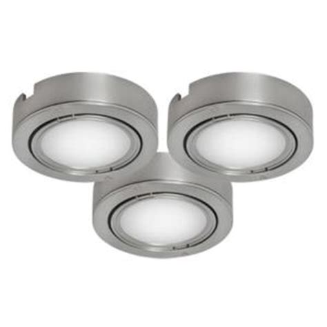 bazz brushed chrome cabinet puck lights 3 pack