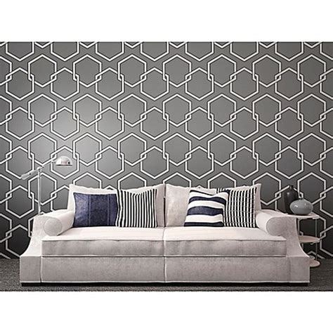 bed bath and beyond wallpaper tempaper 174 removable wallpaper in honeycomb grey bed bath