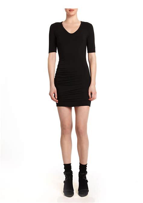Dress Denim Spandex wang modal spandex ruched sleeve dress in black lyst